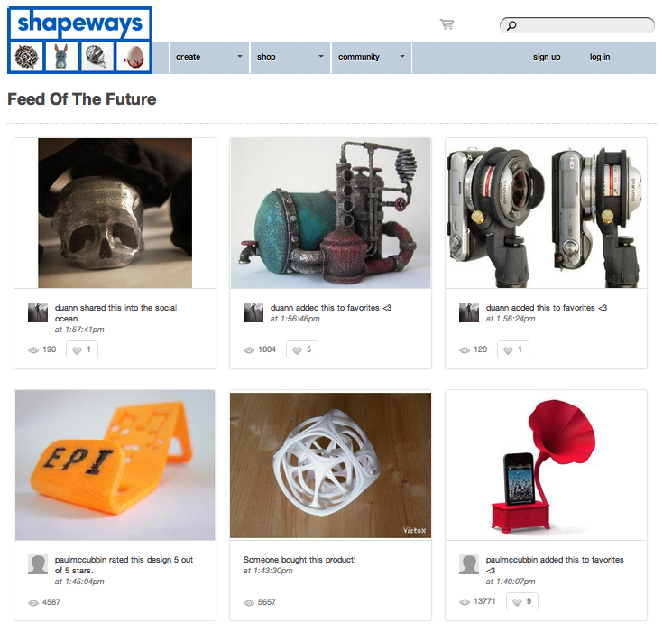 Shapeways Feed is a Pinterest for 3D Printing