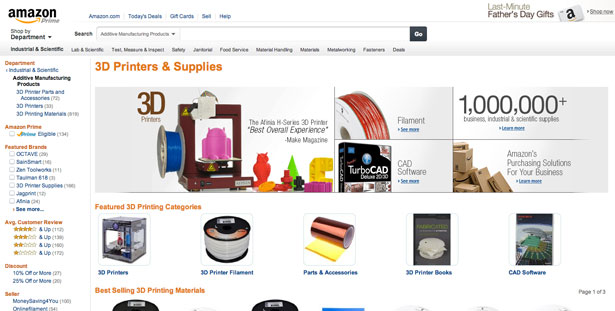Amazon 3D Printing Category
