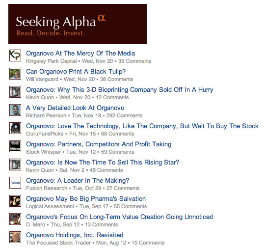 Seeking Alpha Organovo Coverage